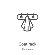 Coat Rack Icon Vector From Furnitures Collection. Thin Line Coat Rack Outline Icon Vector Illustration. Linear Symbol For Use On Web And Mobile Apps, Logo, Print Media