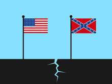 Collapse Of United States Of America During American Civil War - National Flags As Symbol Of Divided Country Into Union And Confederacy. Vector Illustration.