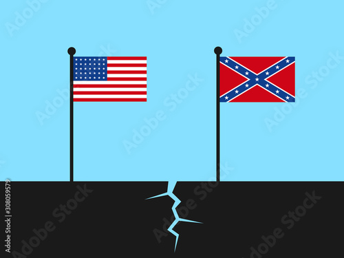 Fotografie, Obraz Collapse of United States of America during American civil war - national flags as symbol of divided country into Union and Confederacy