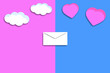canvas print picture - envelope with heart and clouds