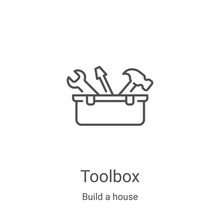 Toolbox Icon Vector From Build A House Collection. Thin Line Toolbox Outline Icon Vector Illustration. Linear Symbol For Use On Web And Mobile Apps, Logo, Print Media