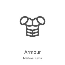 Armour Icon Vector From Medieval Items Collection. Thin Line Armour Outline Icon Vector Illustration. Linear Symbol For Use On Web And Mobile Apps, Logo, Print Media
