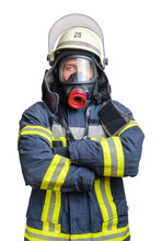 Young Firefighter In Uniform In Protective Breathing Mask On His Head. Isolated On White Background