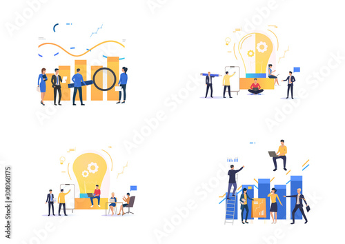 Fototapeta Startup presentation set. Professionals presenting charts, diagrams, graphs to partners. Flat vector illustrations. Business, marketing concept for banner, website design or landing web page obraz