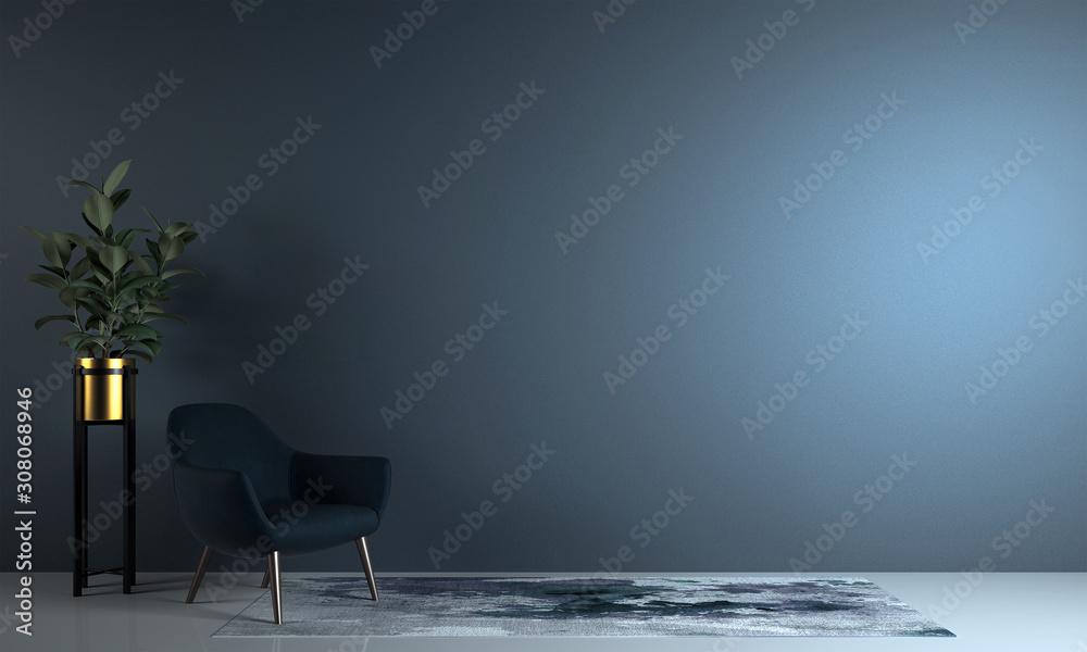 Obraz Minimal living room and blue wall texture background interior design / 3D rendering fototapeta, plakat
