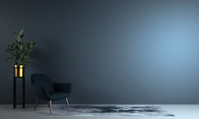 Minimal Living Room And Blue Wall Texture Background Interior Design / 3D Rendering