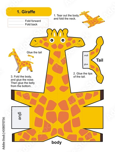 Photo Origami 3d Folding Paper baby card with giraffe