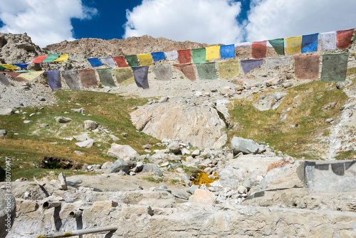 Ladakh, India - Jul 22 2019 - Hot spring at Panamik Village in Nubra Valley, Ladakh, Jammu and Kashmir, India.