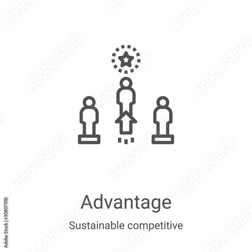 advantage icon vector from sustainable competitive advantage collection Canvas Print
