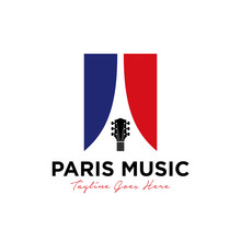 Unique Paris Music Logo Design Vector Template Illustration. Consisting Of A Guitar Icon, French Flag And Eiffel Tower On Negative.