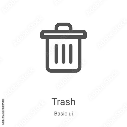 Fototapety, obrazy: trash icon vector from basic ui collection. Thin line trash outline icon vector illustration. Linear symbol for use on web and mobile apps, logo, print media
