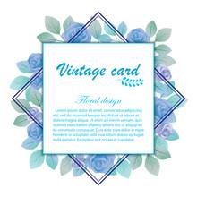 Blue Vintage Floral Border Design For Wedding Invitation Card Or Greeting Card , Vector Illustration
