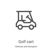 Golf Cart Icon Vector From Vehicles And Transport Collection. Thin Line Golf Cart Outline Icon Vector Illustration. Linear Symbol For Use On Web And Mobile Apps, Logo, Print Media