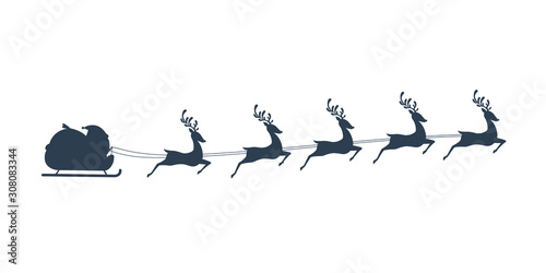 Photo  Silhouette of Chibi Santa Claus riding his sleigh with five reindeer