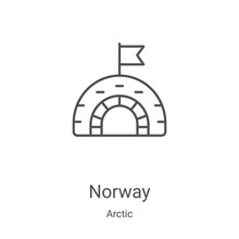 Norway Icon Vector From Arctic Collection. Thin Line Norway Outline Icon Vector Illustration. Linear Symbol For Use On Web And Mobile Apps, Logo, Print Media