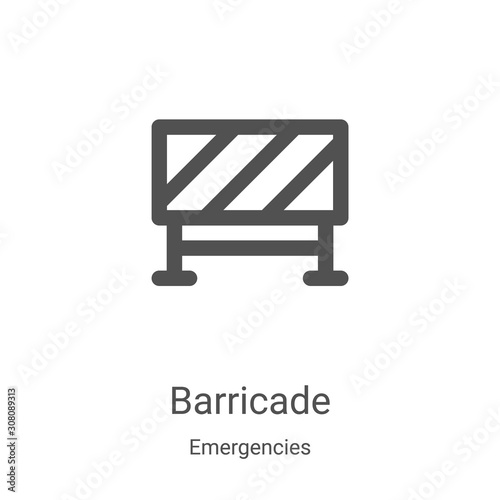 barricade icon vector from emergencies collection Canvas Print