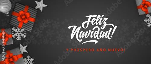 Feliz Navidad - Merry Christmas in spanish language black flat card template wit Canvas