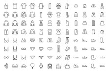 Clothes Icons Set. Dress, Skir...