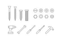 Screws, Bolts, Nails, Repair Tools Icons Set