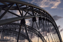 Arched Steel Girders At Dusk O...