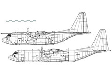Lockheed C-130J Super Hercules. Outline Vector Drawing