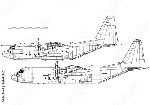 Photo  Lockheed C-130J Super Hercules. Outline vector drawing