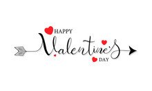 Happy Valentines Day Typography Handwritten Calligraphy Text With Red Heart On White Background. Vector Illustration