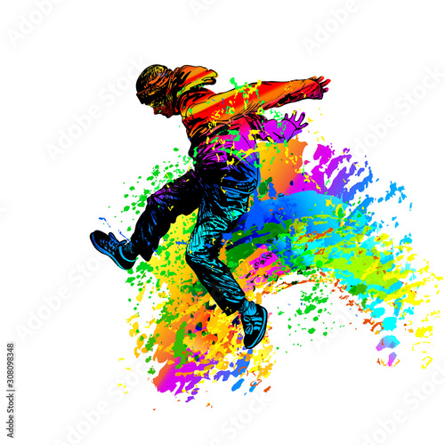 Hip hop dancer. Break dance Wallpaper Mural