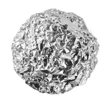 Crumpled Ball Of Aluminum Foil Isolated On White With Clipping Path