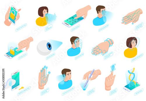 Biometric Authentication Isometric Icons Canvas Print