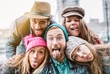 canvas print picture - Best friends taking selfie on winter fashion clothes - Happy friendship concept with millennial people having fun together - Everyday life of next generation guys and girls enjoying holidays lifestyle