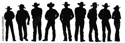 Fotografia Vector silhouettes of cowboys and cowgirls standing.