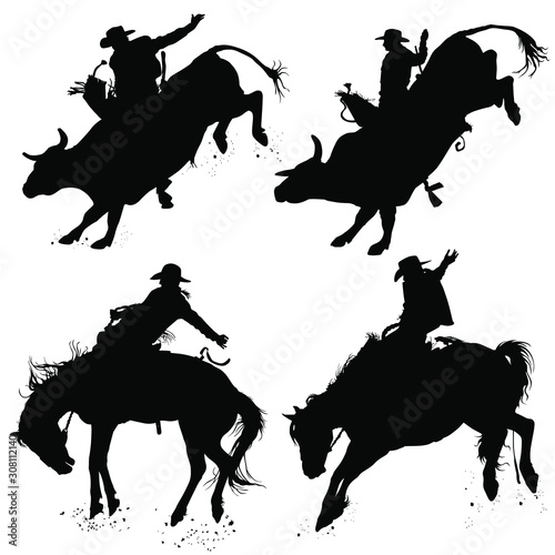 Photo Vector silhouettes of a cowboy riding a bucking bull and horse.