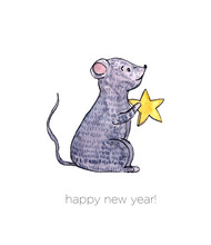 Cute Cartoon Pretty Little Gray Mouse. Christmas Watercolor Illustration, Hand Painted, Isolated.Perfect For Wallpaper,print,postcard Design,invitations.
