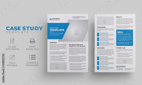 Case Study Template | Blue Case Study Layout Canvas Print
