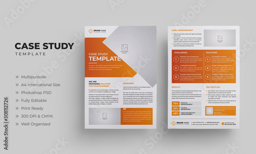 Valokuva Business Case Study Template with Orange Color | Case Study Layout