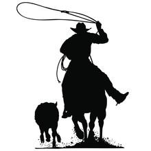 A Vector Silhouette Of A Cowbo...