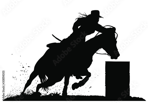Fotomural  A vector silhouette of a rodeo cowgirl barrel racing.