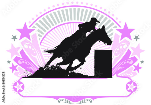 Cuadros en Lienzo  A vector silhouette of a rodeo cowgirl barrel racing.
