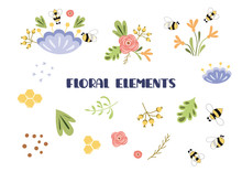 Floral Elements Set Cute Hand Drawn Collection Of Flowers Plants Insects Bee Leaves Vector Clip Art