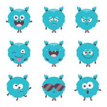 Set Of Cute Cartoon Bluel Mons...