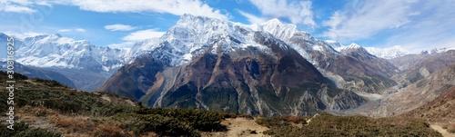 Fototapeta Panoramic view of whole massif Annapurna, on trail from Manang to Ice Lake. During trekking around Annapurna, Annapurna Circuit obraz