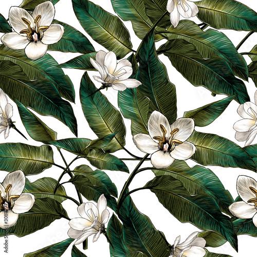wzor-z-tropikalnych-lisci-i-bialych-kwiatow