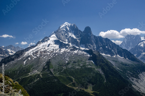 Landscapes across Chamonix valley in France, wonderful view of the top of Petit Wallpaper Mural