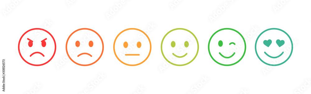 Fototapeta Set of emoticons with different moods. Emoji.