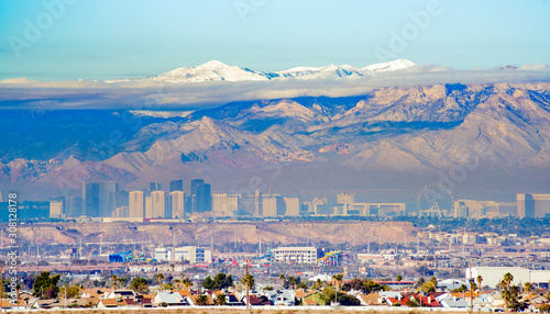 High angle view of the famous Strip of Las Vegas Canvas Print