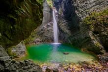 Hidden Waterfall In The Mountain Canyon