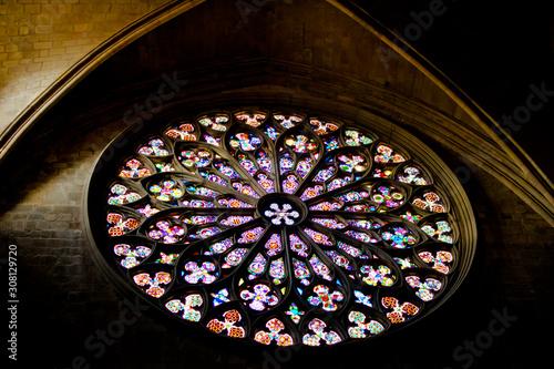 Cuadros en Lienzo BARCELONA, SPAIN: Main stained glass window of the Basilica of Santa Maria del P