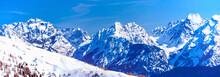 Dolomites Mountain Range In Italy In Winter, Sesto / Sexten Area