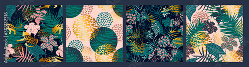 Photo  Trendy seamless exotic patterns with palm, animal prints and hand drawn textures